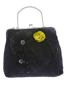 Kabelky - spoločenská dámska kabelka čipkovaná čierna, burleskní kabelka, gothic kabelka X5 - 10847696_