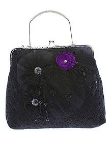 Kabelky - spoločenská dámska kabelka čipkovaná čierna, burleskní kabelka, gothic kabelka X7 - 10847731_