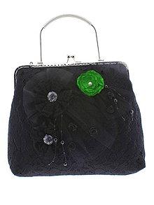 Kabelky - spoločenská dámska kabelka čipkovaná čierna, burleskní kabelka, gothic kabelka X8 - 10847745_