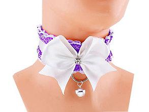 Náhrdelníky - Obojok čipkový, obojok saténový, kitten play collar, pet play collar, ddlg collar P1 (Oranžová) - 10847919_