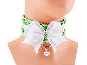 Náhrdelníky - Obojok čipkový, obojok saténový, kitten play collar, pet play collar, ddlg collar P3 (Šedá) - 10847969_