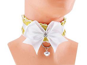 Náhrdelníky - Obojok čipkový, obojok saténový, kitten play collar, pet play collar, ddlg collar P5 (Modrá) - 10847999_