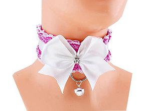Náhrdelníky - Obojok čipkový, obojok saténový, kitten play collar, pet play collar, ddlg collar P7 (Oranžová) - 10848037_