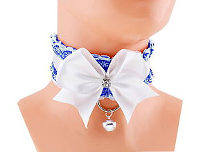 Náhrdelníky - Obojok čipkový, obojok saténový, kitten play collar, pet play collar, ddlg collar P8 (Modrá) - 10848045_