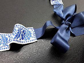 Opasky - Folk opasok s modrými ružami obojstranný - 10847423_