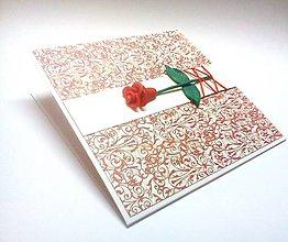 Papiernictvo - Pohľadnica ... Ruža červená - 10848510_