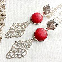 Náušnice - Red Howlite Filigree Dangle Earrings / Náušnice červený howlit, filigrány - 10846755_