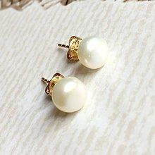 Náušnice - Freshwater Pearls Gold Earrings / Napichovacie náušnice so sladkovodnými perlami - 10846997_