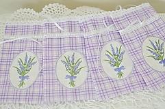 Úžitkový textil - Fialové kárované vrecúška - 10847471_