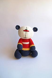 Hračky - Háčkovaný macko - Ňuňúch Obor | Biela | Modrá | Červená | Žltá - 10846990_