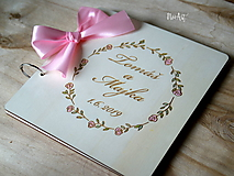 Svadobná kniha hostí, drevený fotoalbum -  venček13