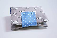 Detské doplnky - Organizér na plienky modro-béžový s ovečkami - 10846792_