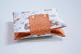 Detské doplnky - Organizér na plienky oranžovo-čierny s líškami - 10846771_