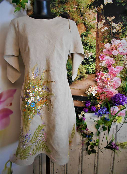 Ľanové maľované šaty