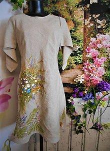 """Šaty - Ľanové maľované šaty """"Lúčna kytica II."""" - 10848243_"""