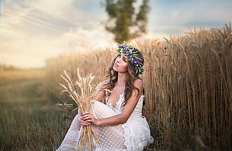 Ozdoby do vlasov - Bohato zdobený levanduľový  venček - 10849160_