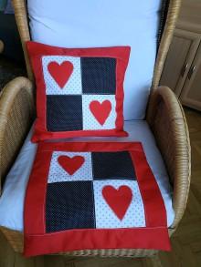 Úžitkový textil - Vankúše so srdiečkami - 10848461_