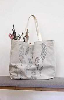 Veľké tašky - Veľká nákupná/plážová taška z ľanu s ručnou potlačou pierok - 10847176_