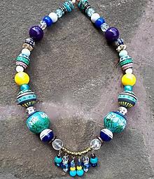 Náhrdelníky - Prúdy úsvitu- maľovaný tyrkysový náhrdelník - 10848711_