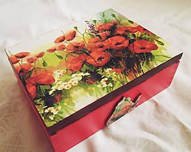 Krabičky - Čajová krabička s motívom vlčích makov - 10848169_