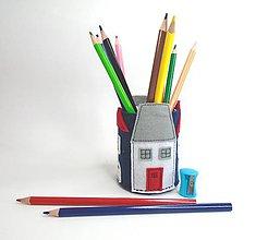 Detské doplnky - Stojan na ceruzky (Domčeky) - 10846711_