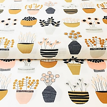 Textil - kvetiny v kvetináči, 100 % bavlna z USA - 10847394_