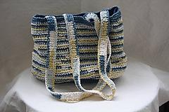 Taška. Háčkovaná kabelka na rameno v letných farbách