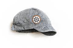 Detské čiapky - Šiltovka Kormidlo 100% ľan sivá EXCLUSIVE - 10849159_