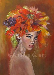 Obrazy - Olejomaľba - Jesenné dievča - 10847756_