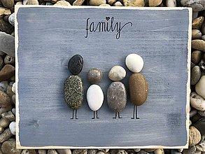Obrazy - Kamienkáč Family 2 šedo-modrý - 10849050_