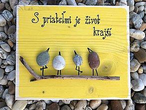 Obrazy - Kamienkáč Priatelia - žltý - 10849097_