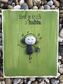 Obrazy - Kamienkáč Muzikant - zelený - 10849123_