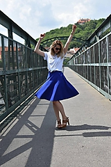 Sukne - Modrá kruhová sukňa - 10847574_