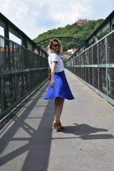Sukne - Modrá kruhová sukňa - 10847575_
