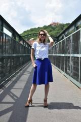 Sukne - Modrá kruhová sukňa - 10847585_