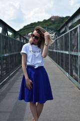 Sukne - Modrá kruhová sukňa - 10847605_
