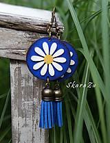 Náušnice - Sedmokráska v modrej - 10848823_