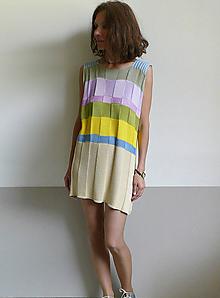 Šaty - béžové šaty farebné pásy - 10848311_