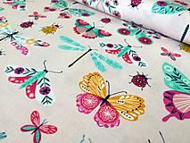 Textil - Bavlnená látka Summer Dance - motýle - 10849575_