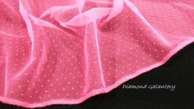 Textil - Tyl guličky biele - cena za 10 centimetrov (Tyl guličky ružové - cena za 10 centimetrov) - 10850340_
