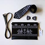 Kabelky - DREVENÁ MAĽOVANÁ SADA kabelka&motýlik&kravata - 10849727_