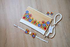 Kabelky - DREVENÁ MAĽOVANÁ SADA kabelka&motýlik&náušnice - 10849787_