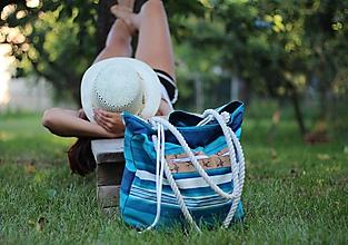 Veľké tašky - Obrovská plážová taška pruhy - 10851427_