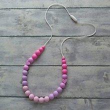 """Detské doplnky - Silikónový dojčiaci náhrdelník """"Ružová Anička"""" - 10850903_"""