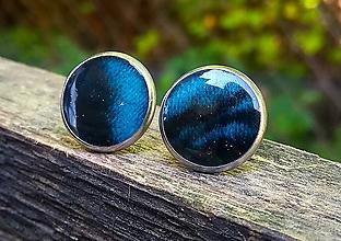 Náušnice - Napichovacie náušnice (CHO) modro-čierne - 10849561_