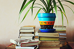 Nádoby - Terakotový kvetináč - Azúrový (väčší) - 10850520_