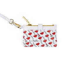 Peňaženky - Kožená mini peňaženka/kľúčenka - leto 2019 (BIELA / PUSINKY) - 10849837_