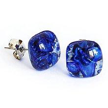 Náušnice - Sklenené puzety PARIS - tmavo modré - 10849812_