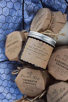 Svietidlá a sviečky - Sójová sviečka 130g v hnedom sklíčku (Citrónová bábovka) - 10851330_