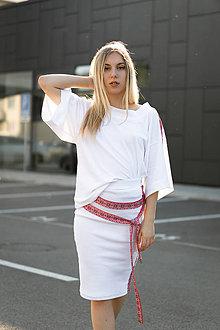 Tričká - Boxy tričko FOLK biele - 10850972_